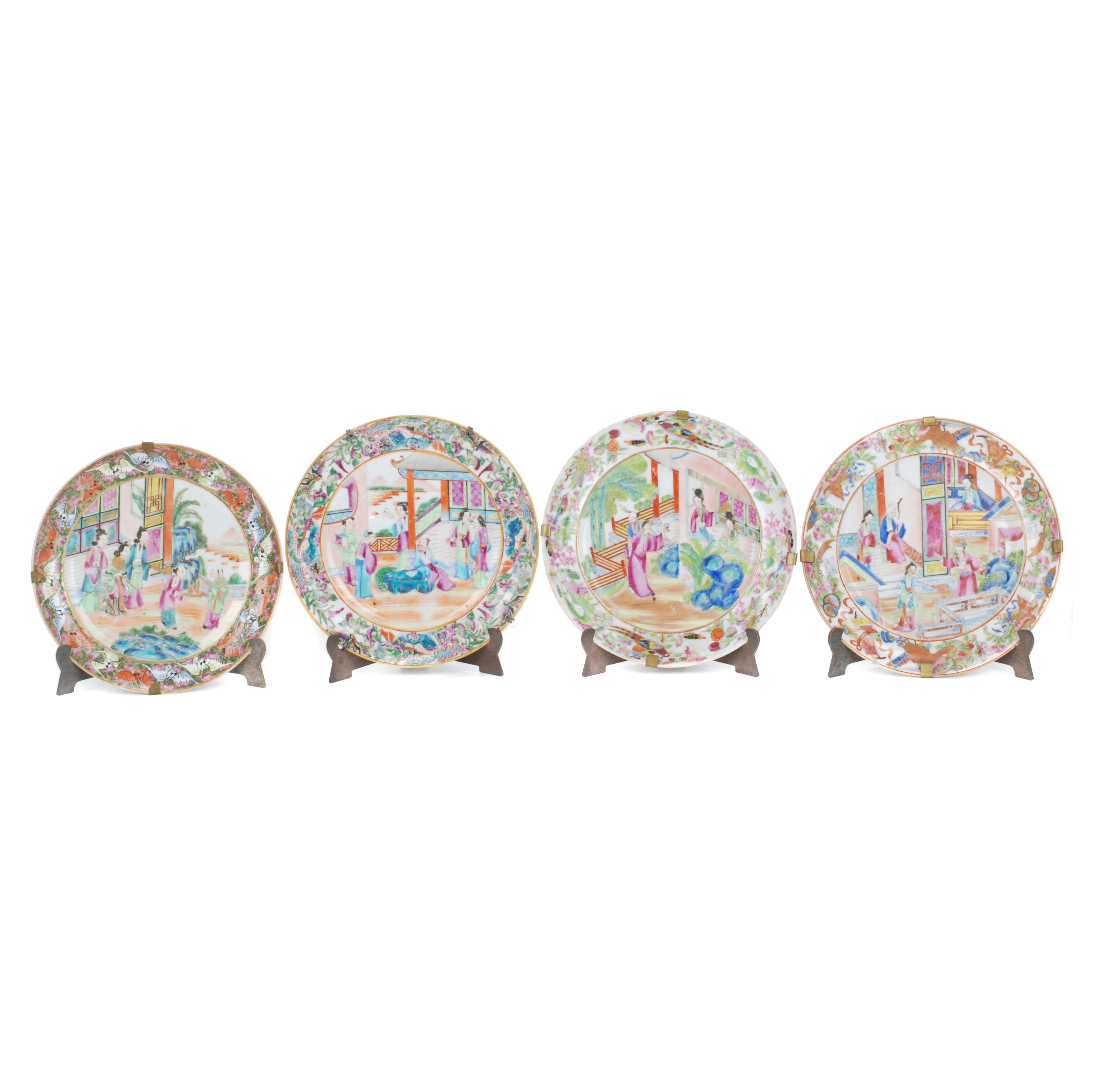 FOUR CHINESE PLATES, C19th.