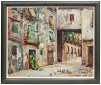 "656-ALBERT JUNYENT (1903-1976)""Casc antic""Óleo sobre lienzo"