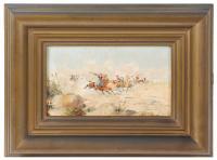 703-MARIANO OBIOLS DELGADO (c.1860-1911)Estampida de bandolerosÓleo sobre tabla