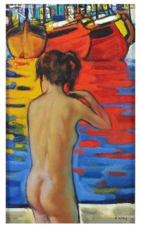709-JESUS CASAUS MECHO (1926-2002)Desnudo femeninoTécnica mixta sobre lienzo