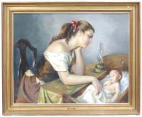 "750-FRANCISCO RIBERA GOMEZ (1907-1990)""Maternal""Óleo sobre lienzo"