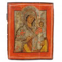 693-ESCUELA RUMANA DEL SIGLO XIX-XXMadre de Dios de KorsunTemple sobre tabla