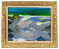 """760-CAMILLE HILAIRE (1916-2004)""""Sur la plage""""Óleo sobre lienzo"""