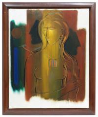 "745-ROBERTA GONZALEZ (1909-1976)""Feuilles d'automne""Óleo sobre lienzo"