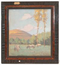 741-JOAQUIM TERRUELLA MATILLA (1891 – 1957)Campo con vacasÓleo sobre tabla