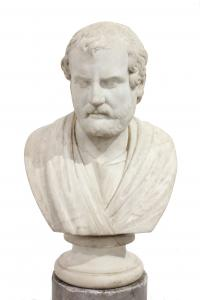 544-ESCUELA ITALIANA, SIGLO XVIII. BUSTO DE FILÓSOFO ROMANO SOBRE COLUMNA.