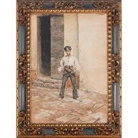 """1916-ANTONIO FABRÉS (1854-1938). """"UN JOVEN""""."""