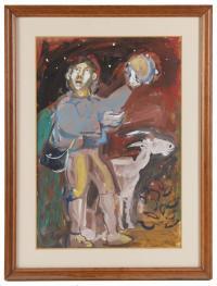 """1285-JULIÁN GRAU SANTOS (1937). """"PASTOR CON PANDERETA"""", 1960."""