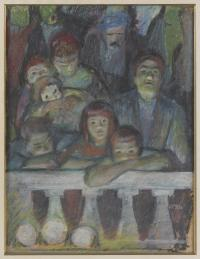 """3446-ALFRED OPISSO CARDONA (1907-1980). """"ESPECTADORES EN UN PALCO""""."""