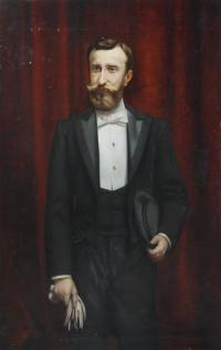 """603-RICARDO MARTÍ AGUILÓ (1868-1936). """"RETRATO MASCULINO""""."""