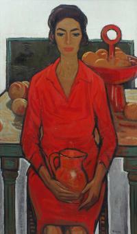 """955-JESUS CASAUS MECHO (1926-2002). """"RETRATO DE LA MUJER DEL ARTISTA""""."""