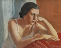 """832-ALFREDO SISQUELLA ORIOL (1900-1964). """"FIGURA (RETRATO DE ANTÒNIA, ESPOSA DEL ARTISTA)"""", C. 1933."""
