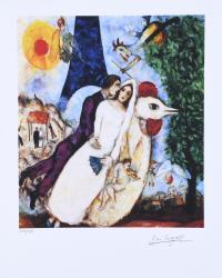 """197-A PARTIR DE MARC CHAGALL (1887-1985). """"LOS NOVIOS DE LA TORRE EIFFEL""""."""