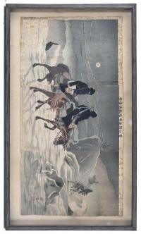 """1924-TATSUTA SEIZO (ACTIVO ENTRE 1887 – 1897). """"TRÍPTICO DE GUERRA SINO-JAPONESA""""."""