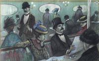 """3331-ALFRED OPISSO CARDONA (1907-1980). """"SCENE IN A CAFÉ""""."""