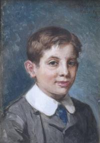 """839-RICARDO DE MADRAZO Y GARRETA (1852-1917). """"RETRATO DEL HIJO DE AMPARO EULATE"""", 1908."""