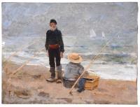 """812-FRANCISCO MIRALLES Y GALUP (1848-1901). """"PESCADORES""""."""