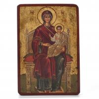 3172-20TH CENTURY RUSSIAN SCHOOL. ENTHRONED MADONNA AND CHILD.