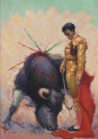 """3322-JOSÉ MARÍA TUSER VÁZQUEZ (1919-1986). """"EL TORERO ANTONIO BORRERO, """"CHAMACO"""", 1960."""
