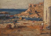 "3347-JOAQUIM TERRUELLA MATILLA (1891-1957). ""SEASIDE VILLAGE"", 1945."