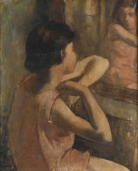 """3190-20TH CENTURY SPANISH SCHOOL. """"WOMAN BY THE DRESSING TABLE""""."""