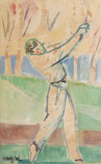 """3185-RAMÓN AGUILAR MORÉ (1924-2015). """"GOLFISTA"""", 1957."""