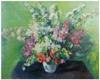 685-DOMÈNEC CARLES ROSICH (1888-1962)Jarrón con floresÓleo sobre lienzo