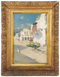 """972-JOAN ROIG I SOLER (1852-1909) """"Pueblo pesquero""""."""