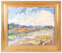 """758-JOAN ABELLÓ (BARCELONA, 1922-2008)""""Sota el pont de Montcada""""Óleo sobre lienzo"""