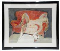 643-JOSEP MOSCARDÓ (1953)Desnudo sobre sofáÓleo sobre cartón