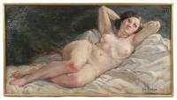 "740-JOSEP GUARDIOLA BONET (1869-1950)""Desnudo""Óleo sobre lienzo"