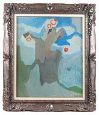 "790-FRANCISCO BORES (1898-1972)""Bouquet devant le ciel""Óleo sobre lienzo"