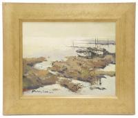 """794-JOSEP MARTINEZ LOZANO (1923-2006)""""Barcas en la playa""""Óleo sobre tabla"""