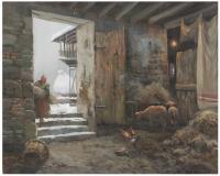 663-JOSEP COLOMER (1935-2002)Interior de establoÓleo sobre lienzo