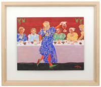 734-FRANCESC ARTIGAU SEGUI (1940)Cena renacentista.Óleo sobre tabla