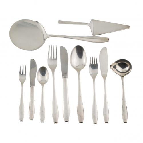 SPANISH CANTEEN OF SILVER CUTLERY, MID C20th.