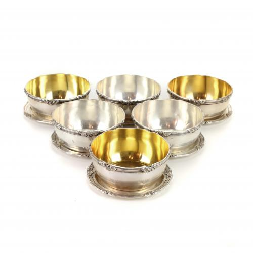 SET OF SIX BARCELONA SILVER SIDE PLATES AND FINGER BOWLS, M