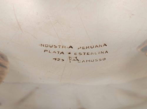 JUEGO DE CAFÉ Y TÉ EN PLATA PERUANA, SEGUNDA MITAD SIGLO XX.